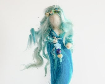 Wool mermaid, Felted sea fairy, Turquoise doll, soft sculpture, Needle felted fairy, Needle felted doll, Felt mermaid, Waldorf inspired