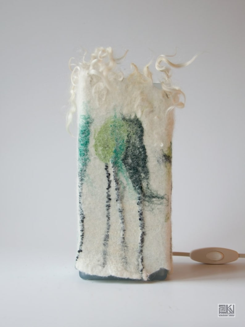 birch decor wooly lampshade Felted lamp White and green handfelted lamp wool lamp cozy light night light bedside lamp romantic lamp