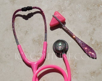 Pink Ombre Bling STETHOSCOPE with Swarovski Crystals