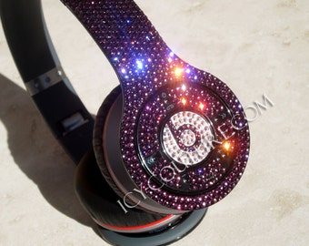 Custom PURPLE Bling BEATS by DRE with Swarovski Crystals c0d8758e84bb