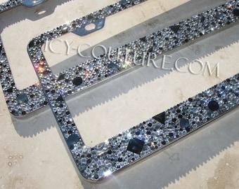 Black On Black Swarovski Crystal Bling License Plate Frame