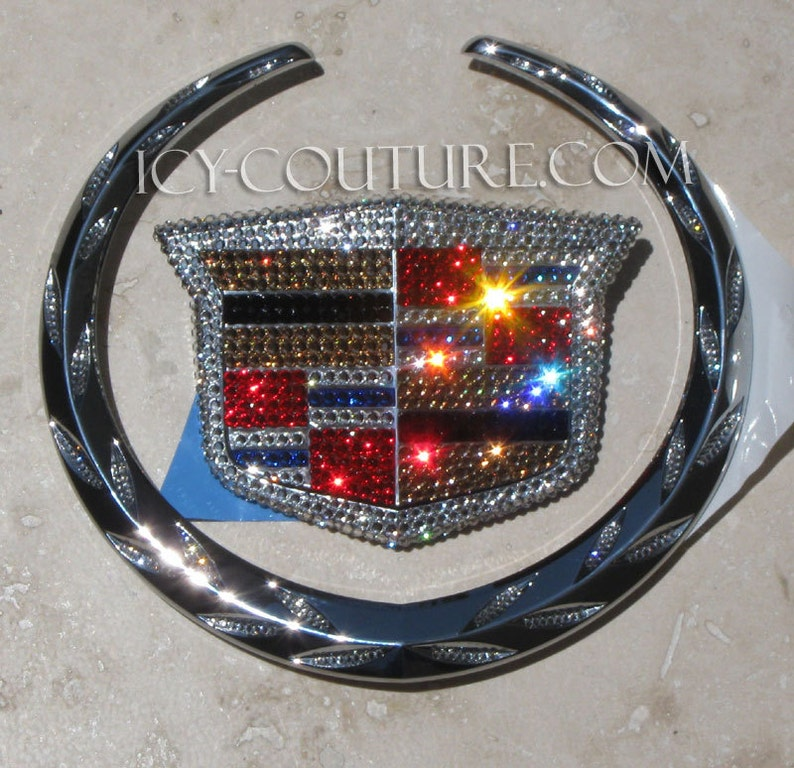 dcd4db370b8 Classic Theme BLING Cadillac Emblems Swarovski Crystals