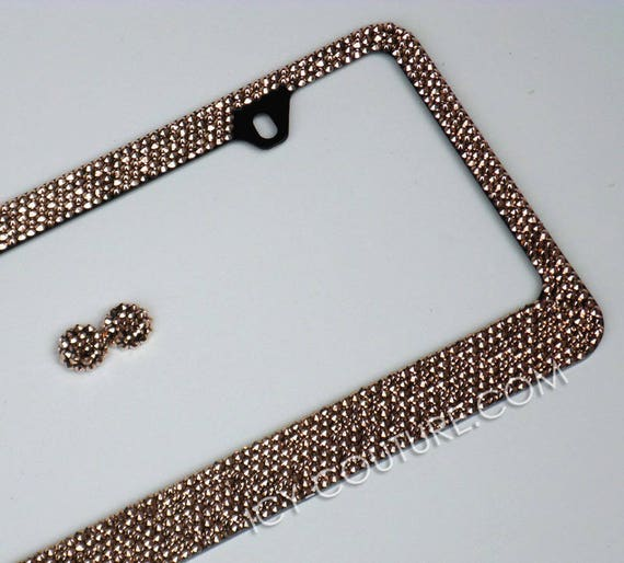 24K GOLD or ROSE GOLD License Plate Frame Swarovski Crystals | Etsy