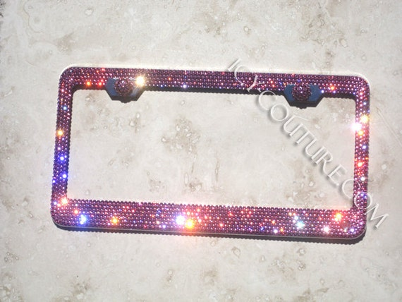 Rose PINK Swarovski Crystal Bling License Plate Frame | Etsy