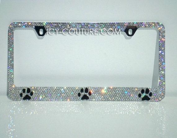 PAW License Plate Frame with Swarovski Crystals