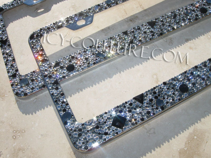 Gorgeous 3D Swarovski Shapes Bling License Plate Frame