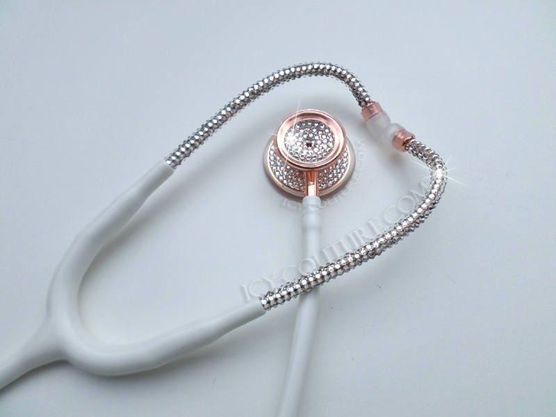 Rose Gold weiß Stethoskop Diamond Swarovski Kristallen.   Etsy