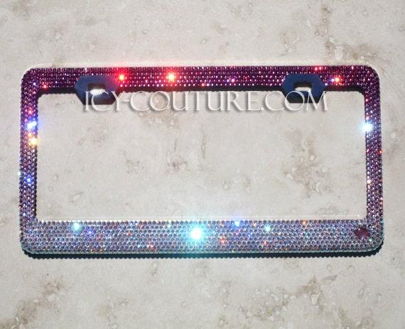 PINK FADE Swarovski Crystal Bling License Plate Frames | Etsy