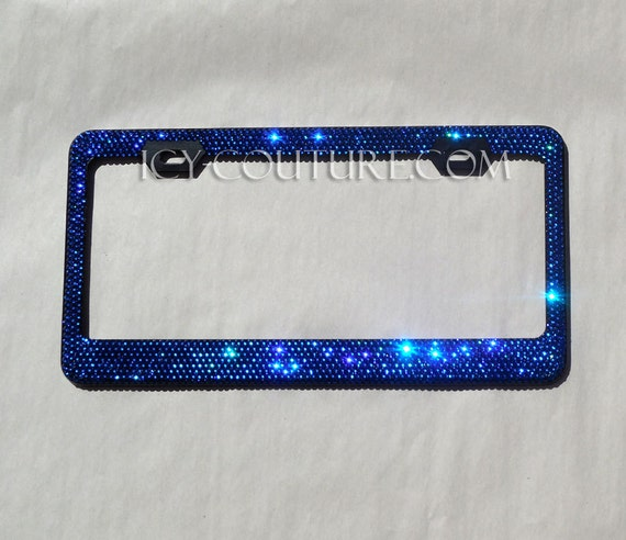 BLUE on BLACK Swarovski Crystal BLING License Plate Frame | Etsy
