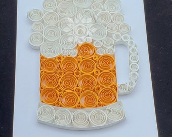 Paper Quilling Beer Mug Wall Décor/ Beer Mug Frame/ Gift for Beer Lover/ Home Bar Décor / Groomsmen Gift / Man Cave Décor / Beer Wall Décor