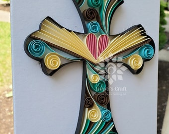 Framed Paper Quilling Religious Cross Wall Décor / Paper Cross Artwork Gift for First Communion or Baptism / Any Occasion Cross Art Gift