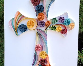 Framed Paper Quilling Cross Wall Décor/Paper Cross Artwork Gift for First Communion or Baptism/ Any Occasion Cross Art Gift / Spiritual Gift