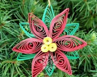 Paper Quilling Poinsettia Flower/Christmas Decoration/Christmas Tree Ornament For Stocking Stuffer Gift/Napkin Ring Decoration For Holiday