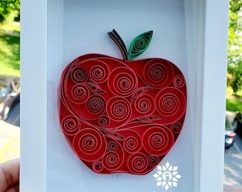 Paper Quilling Apple Wall Art /Framed Big Apple Wall Décor/ Gift for Teacher/ ABC Nursery Wall Art /Framed Paper Quilling Art/ Fruit Art