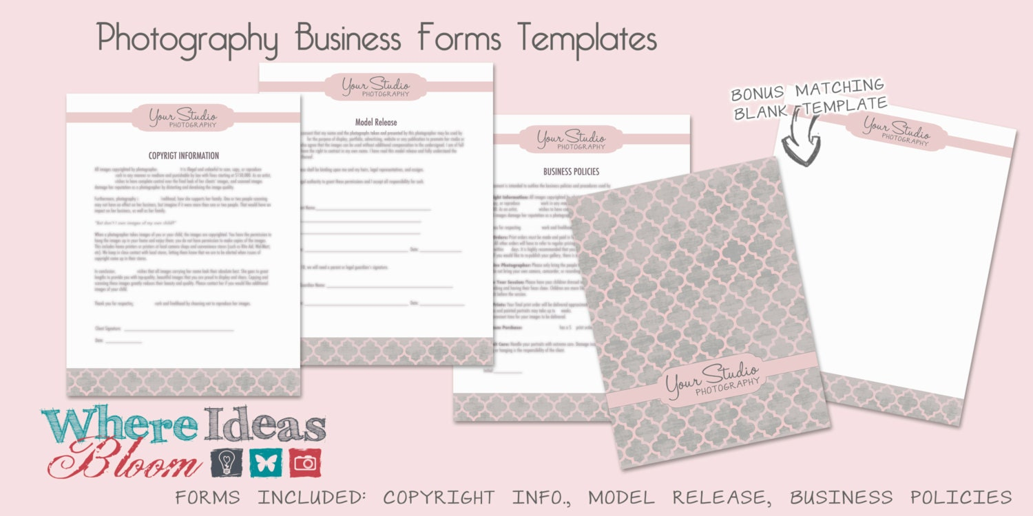 Photography business forms templates 3 patterns to choose etsy zoom fbccfo