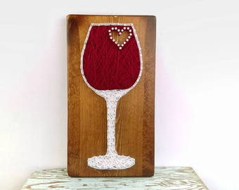 Wine string art, wine gift, wine lover gift, wine decor, wine decorations, wine signs, wine wall decor, wine wall art, wine glass decor