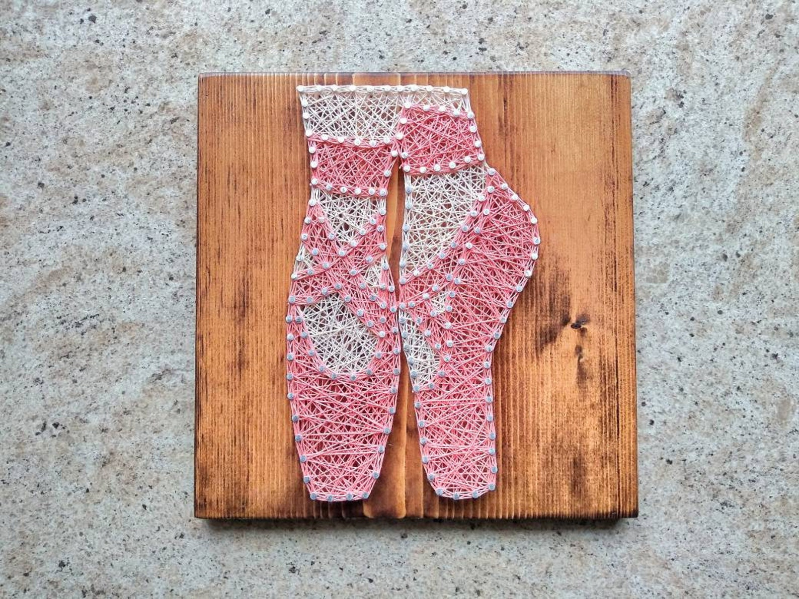 ballet rustic wood string art sign / studio door hanger / baby girl nursery string art / personalized ballerina sign