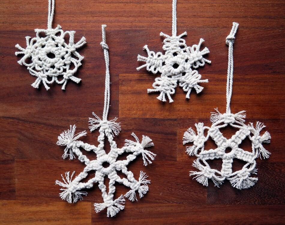 Set Of 12 Macrame Christmas Ornaments