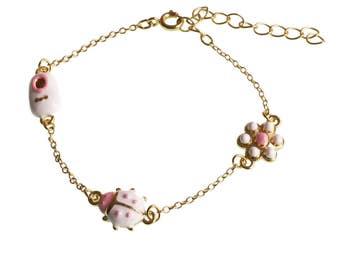 Ladybug Charm Bracelet/Shoe Charm Bracelet/ Flower Charm Bracelet/ Brass Bracelet