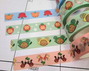 Kawaii Fruit Animals Washi Tape 10 meters (Lime/Lemon Bear, Cherry Bunny, Apple/Orange Bear, Strawberry Cat)
