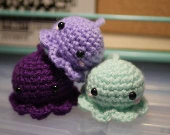 Crochet Kawaii Octopus Amigurumi charm keychain or phone strap Hand-made