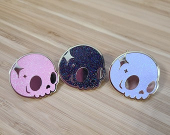 Kawaii Sparkle Holo Glitter Skull Hard Enamel Pin 1.25 inches Available in White, Pink or Black