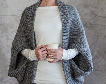 Knitting Pattern - Scoop Sweater - Knit Cardigan - Knit Jacket - Knit Cocoon - Blanket Sweater - Shrug Pattern - Super Bulky - Glamorous