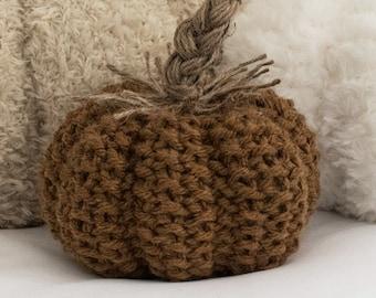 Seed Stitch Pumpkin Knitting Pattern - Rustic Pumpkin Pattern - Braided Twine Stem Pumpkin Knitting Pattern