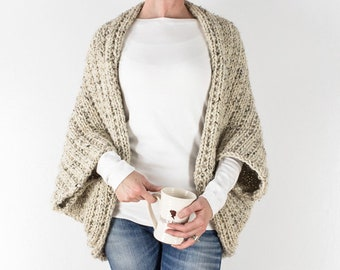 Knitting Pattern - Beginner Scoop Shrug - Blanket Sweater - Knit Cardigan - Wrapped in Warmth - Brome Fields