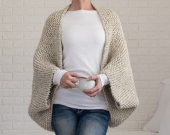Scoop Shrug Knitting Pattern - Oversized Blanket Sweater - Super Chunky Cocoon Cardigan - Knit Cardigan Pattern - Meditation