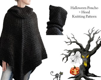 Poncho Knitting Pattern with Hood - Halloween Knitting Pattern - Knit Pull Over - Knit Jacket - Knit Hood - Adult + Child + Doll Sizes
