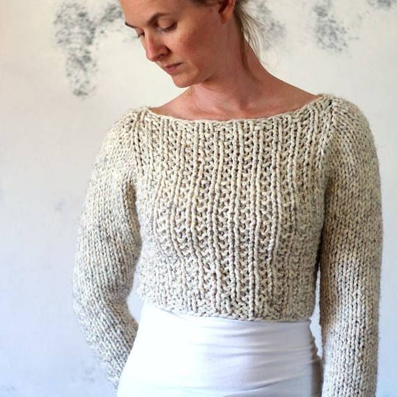 Crop Top Sweater Knitting Pattern Instruction On How To Knit Etsy