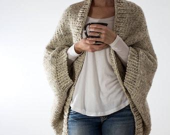Knitting Pattern - Over-sized Scoop Sweater - Knit Cardigan - Knit Jacket - Blanket Sweater - Decisiveness - Brome Fields