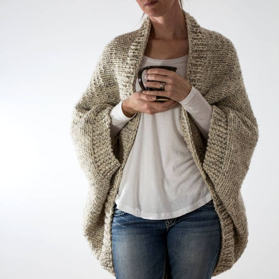 Knitting Pattern Oversized Scoop Sweater Knit Cardigan Etsy