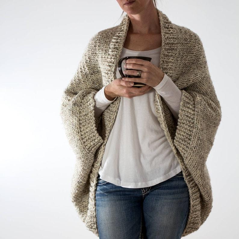 d79510b25 Knitting Pattern Oversized Scoop Sweater Knit Cardigan