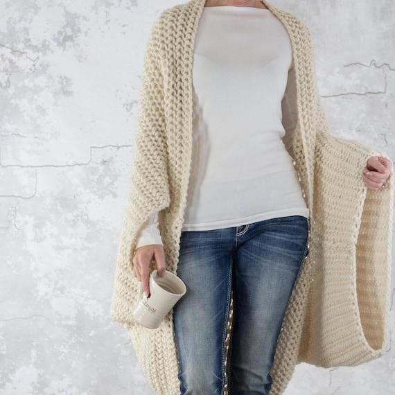 Knitting Pattern , Oversized Scoop Shrug , Knit Cardigan , Knit Jacket ,  Knit Cocoon , Blanket Sweater , LOVELINESS