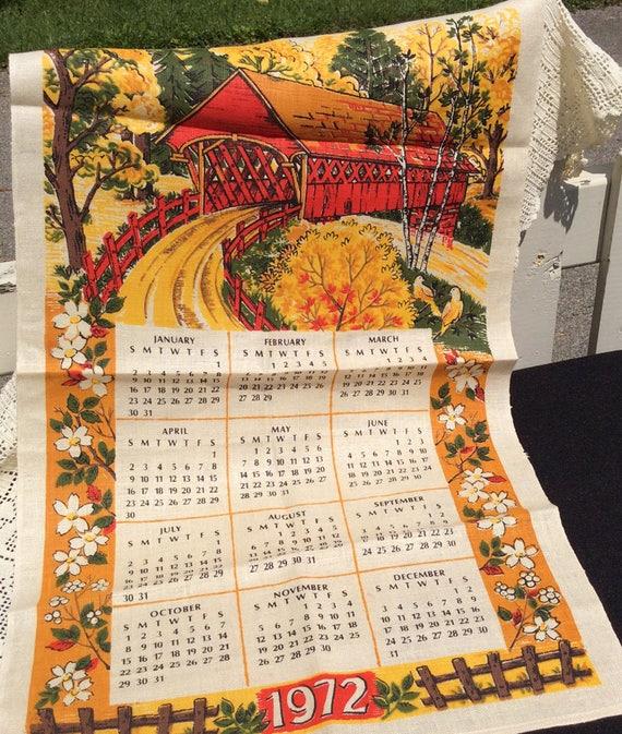 1972 Calendar Towel Vintage Unused Linen Towel Covered Bridge Etsy
