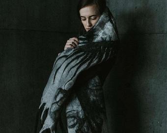 The Eye 100% handmade felted merino wool shawl/wrap