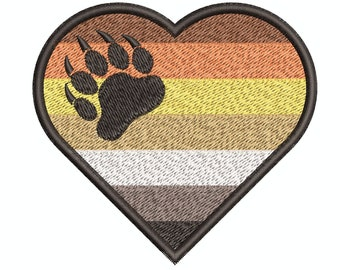 Instant Download*** (Machine Embroidery Design) Bear Pride Flag Heart