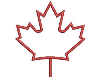 Applique Machine Embroidery Design Instant Download - Canadian Maple Leaf 1