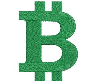 Machine Embroidery Design Instant Download - Bitcoin 1 Currency Symbol