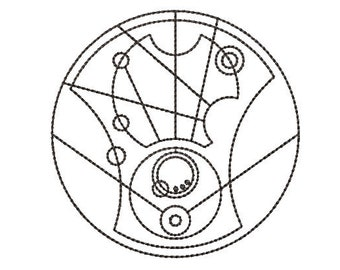 """Instant Download*** (Machine Embroidery Design) Doctor Who """"Hello Sweetie"""" Circular Gallifreyan Quilting Redwork"""