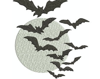 Machine Embroidery Design Instant Download - Bat Moon 1