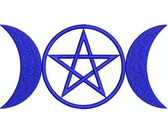 Machine Embroidery Design Instant Download - Triple Moon Pentacle 1