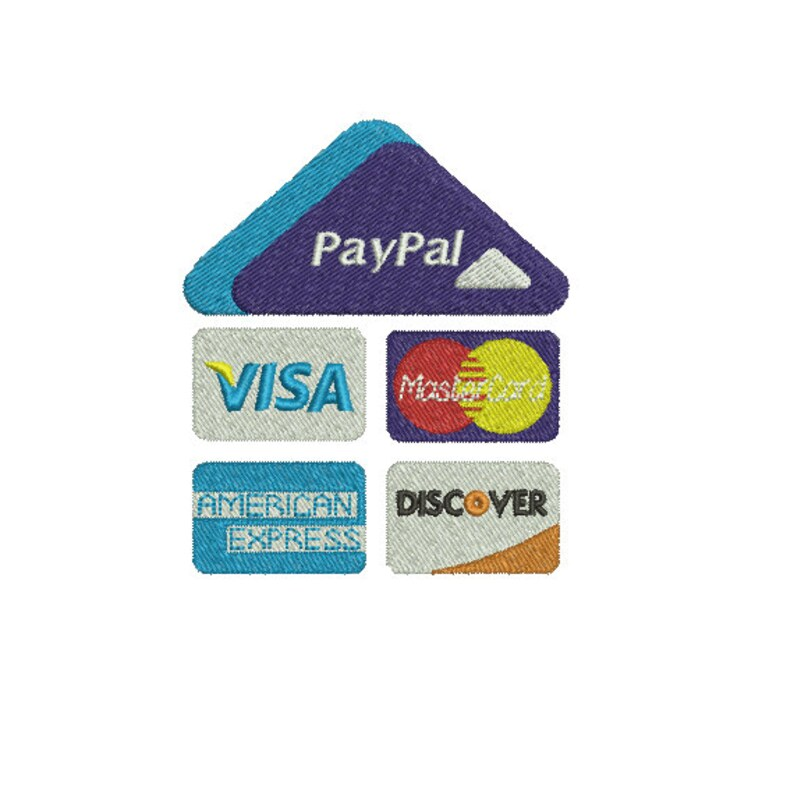 Instant Download*** (Machine Embroidery Design) Paypal Here Credit Card  Logo 2