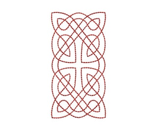 Instant Download*** (Machine Embroidery Design) Celtic Knotwork Rectangle 1 Quilting Redwork