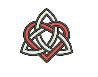 Machine Embroidery Design Instant Download - Celtic Knotwork Tri-knot with Heart