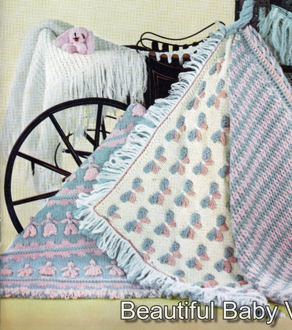 c1b0a4dc2 Vintage Baby Shawls Rugs KNITTING PATTERN Set 5 Baby Blankets