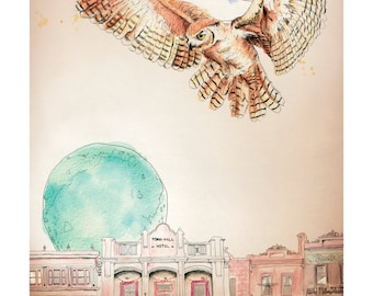 The Melbourne Al | A5 inkjet prints | Alykat Creative Animal series | Owl