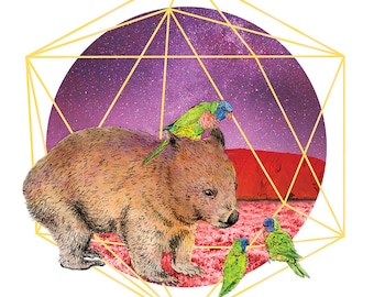 Rupert and friends | A3 Limited edition Giclée print | Alykat Creative Aussie series | Wombat talking